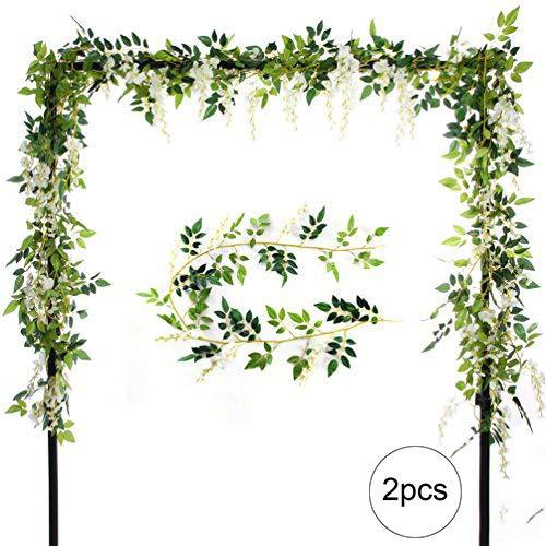 Beito Lot de 2 glycines artificielles - 2 m - En soie - Feuilles vertes - Guirlande fleurie à suspendre pour une fête, un mariage - Pour la maison, le jardin - Décoration murale, crème