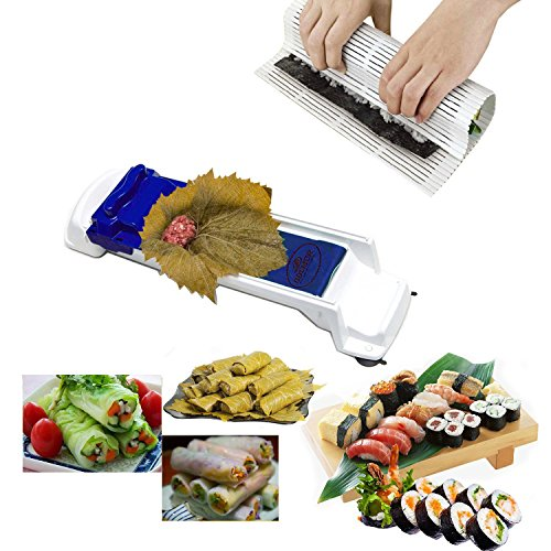 Sushi Maker Roller Dolma Sarma Roller/Vegetable Meat Roller/Stuffed Grape Leaves Cabbage Rolling Tool for Beginners and Children,1 x Sushi Mat included