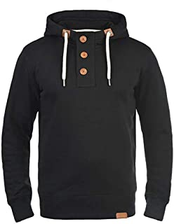 Men's Solid Color Long Sleeve Button Buckle High Collar Drawstring Hoodie Sweatshirt Pullover Coat