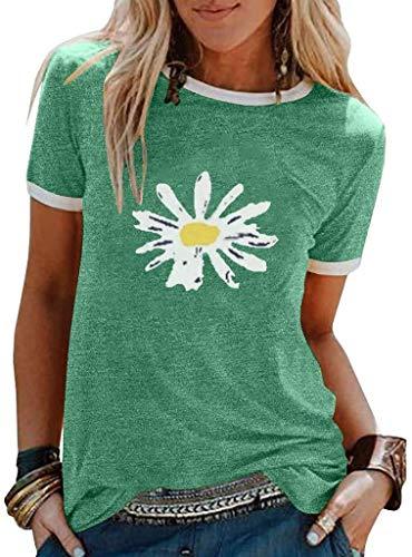 Camisas divertidas de girasol para mujer de manga corta con gráficos vintage para adolescentes y chicas a la moda, divertidas y divertidas camisetas casuales