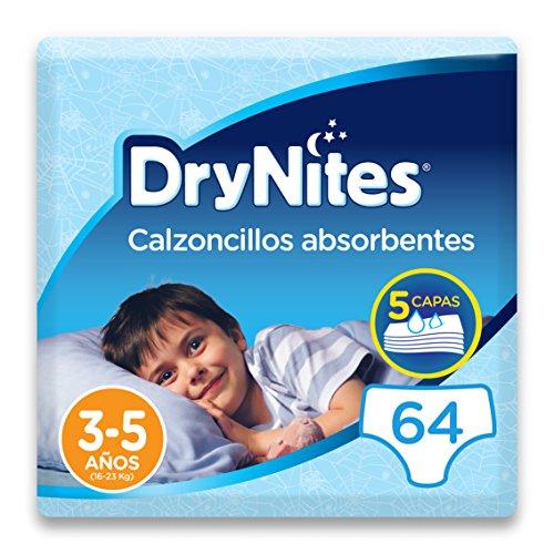 DryNites - Calzoncillos absorbentes para niño - 3 - 5 años (16-23 kg), 4 paquetes x 16 uds (64 unidades)