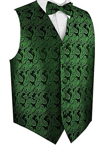 Brand Q Men's Formal Tuxedo Vest & Bow-Tie Set-Green Paisley-4XL
