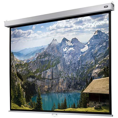 celexon manuell ausziehbare Heimkino- und Business-Rollo-Beamer-Leinwand 4K und Full-HD mit Slow-Return Professional Plus - 240 x 180 cm - 4:3