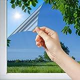 Dimexact Película Solar Anti Calor para Ventana y Acristalamientos, Colocación Interior Cristal Inferior a 1,2 Metros Cuadrados, Color Aluminio – 75% de Rechazo Solar, Anchura hasta 1,52 m, en Rollo