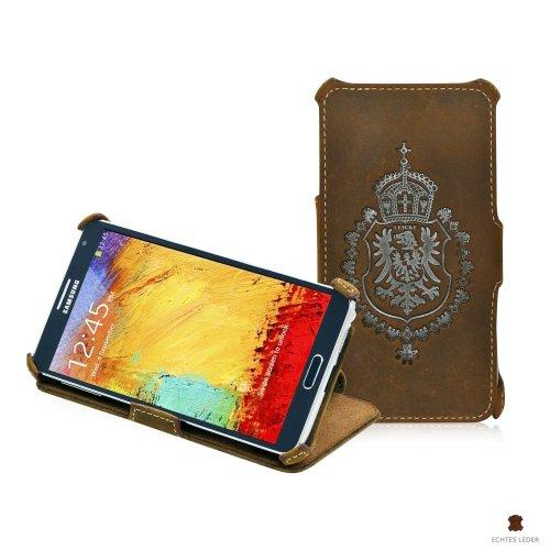 LEICKE Manna - Custodia per Samsung Galaxy Note 3 N9000 N9005 in Vera Pelle 'Nubuk' Bufalo Colore Marrone con Cuciture Bianche rifinite a Mano, Design Innovativo e Brevettato in Germania
