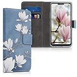 kwmobile Wallet Hülle kompatibel mit LG G7 ThinQ/Fit/One - Hülle mit Ständer Kartenfächer Magnolien Taupe Weiß Blaugrau
