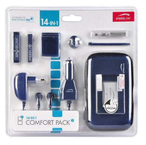 Speedlink Zubehör für Nintendo Handheld (Tasche/Kopfhörer/Ladekabel Steckdose und KFZ/Touchpen/Spielhülle/Mikrofasertuch/Trageriemen) blau