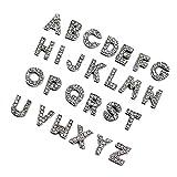 ZHU YU CHUN 130pcs A-Z Full Rhinestones Charms 8mm Slide Alphabet Crystal Letters for DIY Slide Wristbands Bracelets,Hair Clips,Jewelry Making Charms,Silver 130PCS