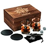 W WHISKOFF Round Rocks Glasses Set - Whisky Chilling Stones in Gift Box - Scotch Whiskey Glasses Gift Set - Bourbon Stones Set - Old Fashioned Burbon Gift for Dad - Idea for Fathers Day