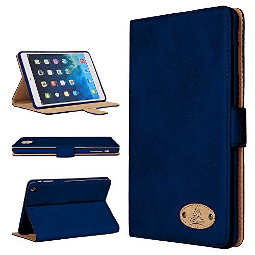 Gorilla Tech Apple iPad Mini 5th Generation Leather Case Smart Protective Cover with Stand for Air Mini 5 2019 Model A2133 A2124 A2126 A2125 Navy Genuine Luxury Executive Leather in Retail Packing