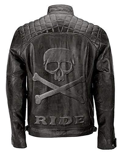 Feather Skin Männer Kleidung Skull Embossed Quilted Vintage Motorcycle Echte Lederjacke- L