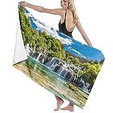 Lsjuee Toalla de baño de 80x130 cm, verde claro Croacia Skradinski Buk Waterfall Krka Nature Blue Park Plitvice Toallas de baño con diseño de bosque increíble Toallas de baño de playa súper absorbente