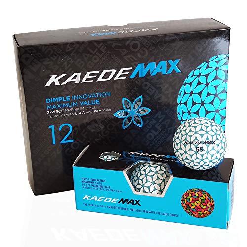 KAEDE MAX Blue Distance Golfbälle - Blau Weiß - Dimple Innovation - Golfgeschenk - wunderschöne Optik - Hingucker Golfball