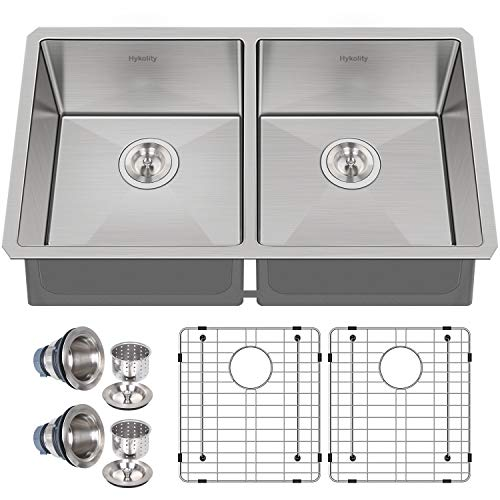 Hykolity 33-inch Undermount 50/50 Double Bowl 16 Gauge Stainless Steel Kitchen Sink