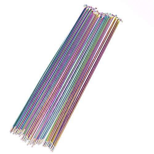 JDV Rainbow 304 - Radios de acero inoxidable (14G, 259/261/271/273/291/293 mm, 10 unidades)