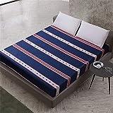 YEHAOFEI Einfache Polyester Schlafzimmer Einfarbig Floral Gedruckt Spannbetttuch Bett Protector Pad Bettlaken Britisch B 200X200cmX25