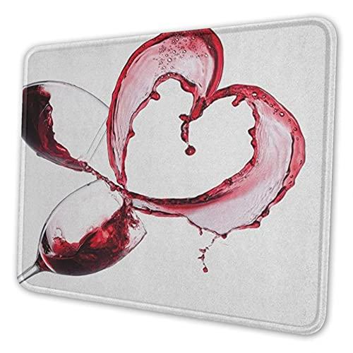 ADONINELP Alfombrilla de ratón Antideslizante para Juegos con Borde Cosido Forma de corazón con Vino Tinto derramado en Vasos Concepto romántico del día de San Valentín Base Goma computadora Superfic