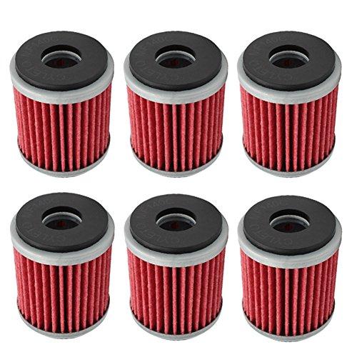 Cyleto Lot de 6 filtres à huile pour Yamaha WR125 R 2009-2015/WR125X WR 125 X 2009-2015/YZF R125 2008-2015