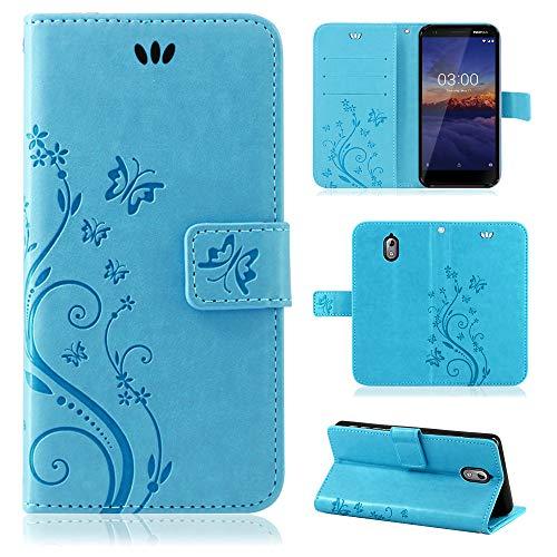 betterfon | Flower Case Handytasche Schutzhülle Blumen Klapptasche Handyhülle Handy Schale für Nokia 3.1 Blau