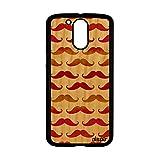 utaupia Coque Motorola Lenovo Moto G4 G4 Plus en Bois Silicone Moustache Fantaisie Rouge