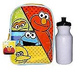 Josmo Kids Sesame Street 15' Backpack - Elmo, Oscar, Big Bird and The Cookie Monster - Green/Blue/Orange with A Free Water Bottle, Medium