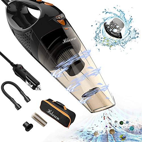 Hikeren - Aspiradora Portátil Para Coche, 12 V CC, 106W 4300-4500Pa, Automática, Con Luz Led, Cable De Alimentación De 5M, 2Filtros HEPA, 1Bolsa Para El Transporte, Etc. Amarillo