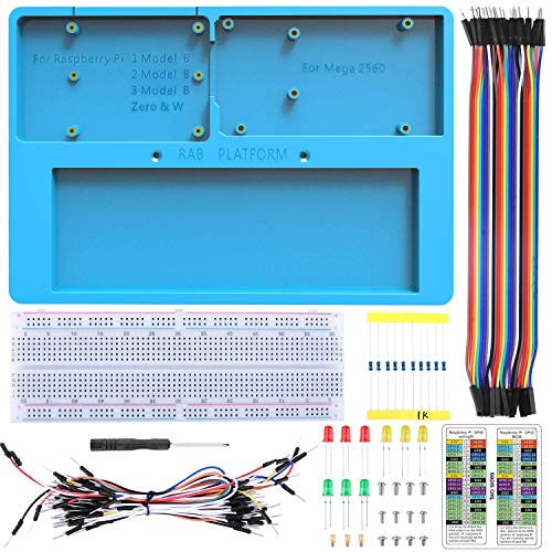 UNIROI 14 in 1 Breadboard Kit with RAB Holder Compatibile con R3, Mega 2560 & Raspberry Pi 4 3 Model B, 2 Model B,1 Model B+ RPI Zero W and Zero (UA032)