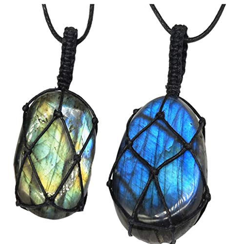 Unisex Labradorite Necklace Natural Irregular Stone Pendant Braid Long Chain Energy Necklace Jewelry for Women Men(Random Color)