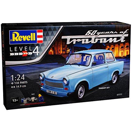 Revell Trabant 601 Limousine Blau 1964-1990 mit Farben Leim Pinsel 07777 Bausatz Kit 1/24 Modell Auto