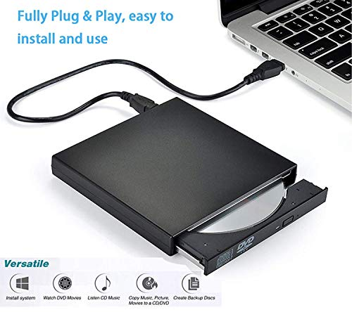 Techno Hight® External DVD Drive USB 2.0, Portable CD DVD +/-RW Optical Drive Burner Writer for Windows 10/8 / 7 Laptop Desktop PC of HP Dell LG Asus Acer LG Asus Lenove Thinkpad MacBook