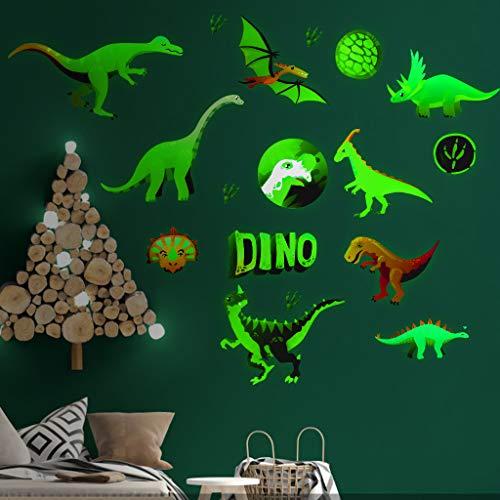 Zueyen Lot de 14 stickers muraux dinosaures lumineux qui brillent dans le noir en PVC amovible pour chambre à coucher, salon, salle de classe, salle de bain, anniversaire, fête de Noël