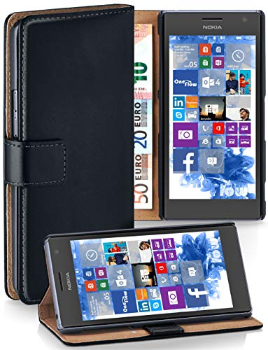 MoEx Cover a Libretto Compatibile con Nokia Lumia 730/735 | Fessura Carta + Soldi, Supporto, Nero
