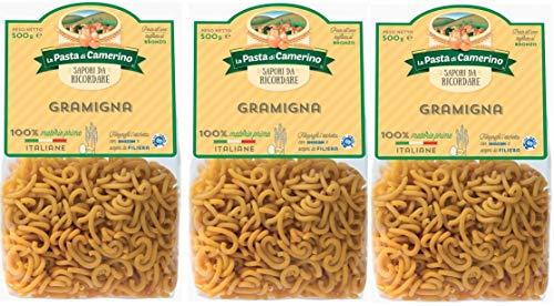 3 Confezioni di La Pasta di Camerino GRAMIGNA 500 Gr.