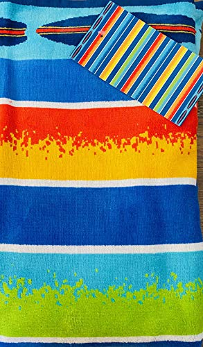 Resort Living Jacquard 100% Cotton Beach Towel, Cabana Stripes with Border