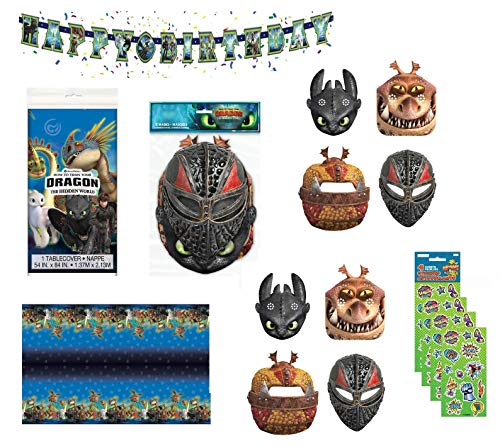 Party Bundle How to Train Your Dragon Birthday Party Decoration Set includes Happy Birthday Banner, Table Cover, Paper Masks, Stickers