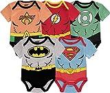 DC Comics Baby Boys' Infant Custome Bodysuit, 5Pack-Multicolor, 6-9 Months