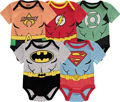 DC Comics Baby Boy Bobysuit Onesie, 5Pack-Multicolor, 18...