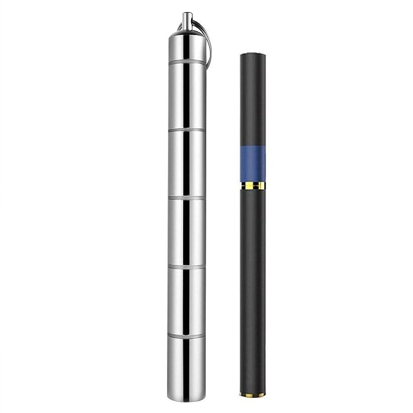 後方にグッゲンハイム美術館予測プルームテック ケース ロング カプセルケース付 組替自由設計 携帯用 アルミ合金 軽量便利 耐湿防圧 アウトドア、野外も