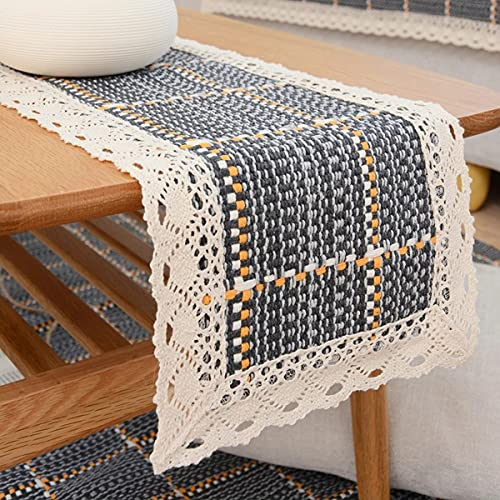 Shulok Camino de mesa moderno beige azul rectangular de macramé camino de mesa de algodón tejido retro casa de la granja y camino de mesa bohemio para boda (azul, 30 x 120 cm)