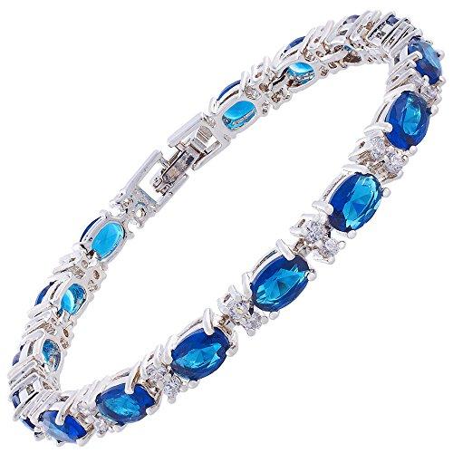 Rizilia Eternidad Tenis Pulsera [18cm/7inch] con Corte Oval Piedras Preciosas Circonita CZ [Zafiro Azul] en 18K Chapado en Oro Blanco, Elegancia Moderna Sencillo