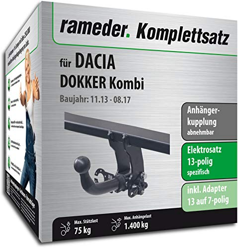 Rameder Komplettsatz, Anhängerkupplung abnehmbar + 13pol Elektrik für Dacia DOKKER (150402-10868-2)