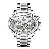 Reloj de Hombre Reloj de Hombre Reloj Negro automático Reloj de Pulsera mecánico Deportivo de Acero Inoxidable Resistente al Agua para Hombres