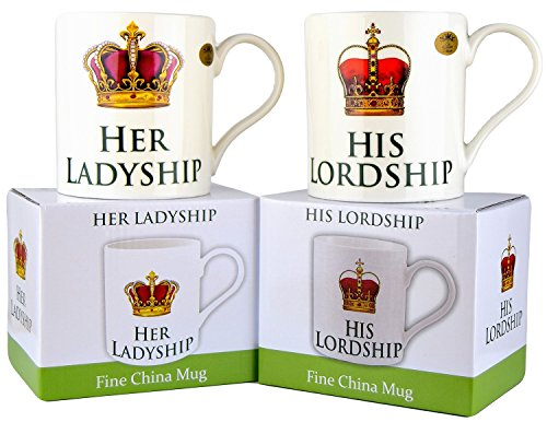 His Lordship & Her Ladyship Fine China Set of 2 Mugs in Individual Gift Boxes