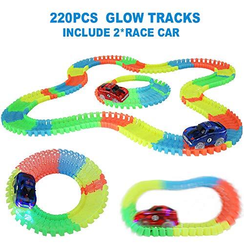 Nuheby Pista Macchinine Pista Cars Luminosa per Bambini Pista Giocattolo con 2 LED Auto da Corsa Flessibile 220 Pezzi Regalo Ragazzi Ragazze 3 4 5 Anni