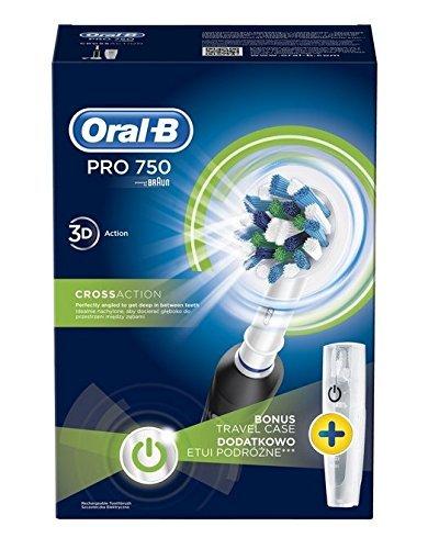 Braun Oral-B PRO 750 NEW Nero, batería, ricaricabile;timer da 2 minuti;valigia da viaggio;effetto 3d, nero, bianco