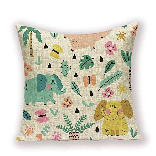 Funda Cojine sofá Decorar Funda Almohada Funda de almohada de elefante de dibujos animados decor de sueño de animales bonitos cojines hogar almohada decorativa de lino hogar cojín sofá sala de estar