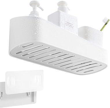 UUSHER Bathroom Shelf, Adhesive Shower Caddy No Drilling Wall Mounted Plastic Organizer for Storage, Ivory White