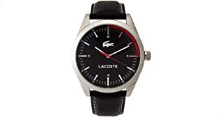 Lacoste Leather Black Dial Contrast Markers Round Analog Watch for Men - Black