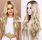 aSulis Natural Long Wavy Wig Dark Roots Ombre Blonde Wig Middle Parting Synthetic Replacement Wig 28' (Blonde)