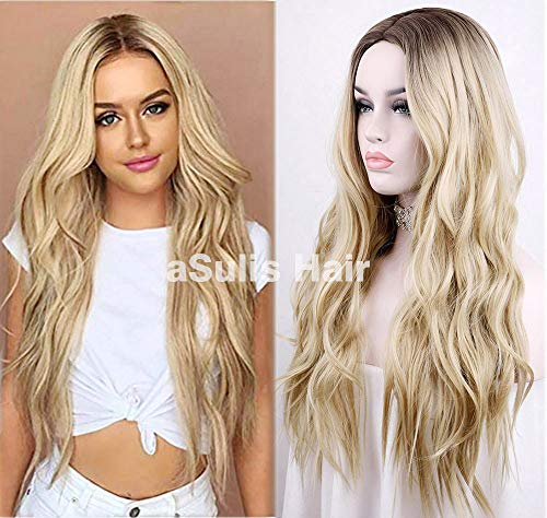 """aSulis Natural Long Wavy Wig Dark Roots Ombre Blonde Wig Middle Parting Synthetic Replacement Wig 28"""" (Blonde)"""